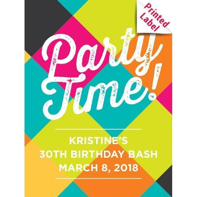 Personalized Blue Bottle - Party Time Label