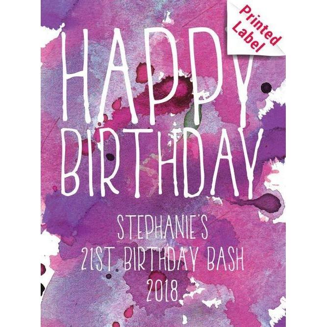 Happy Birthday pink and purple watercolor background custom labeled birthday beer growler by Etching Expressions