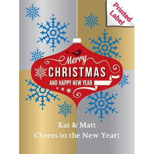 Christmas bulb design with Merry Christmas and Happy New Year champagne label by Etching Expressions