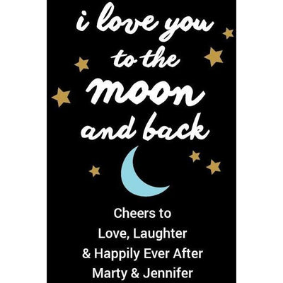 Personal Etched Beer Growler Gift - Moon and Back Stars