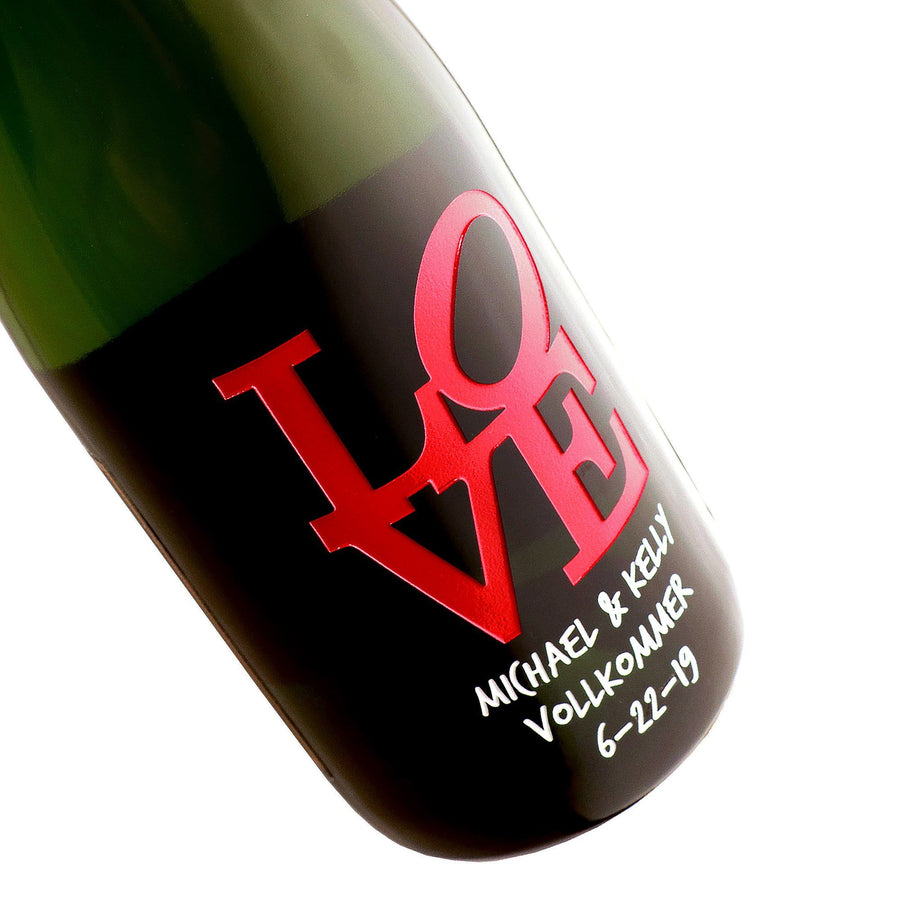 Love Square custom engraved champagne bottle gift for Valentine's Day by Etching Expressions