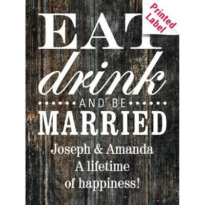 Eat Drink and Be Married custom labeled blue wine bottle wedding gift by Etching Expressions