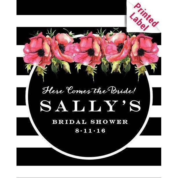 Pink flowers and black and white striped background custom label on red wine bottle wedding gift by Etching Expressions