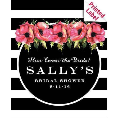 Pink flowers and black and white striped background custom label on champagne bottle wedding gift by Etching Expressions