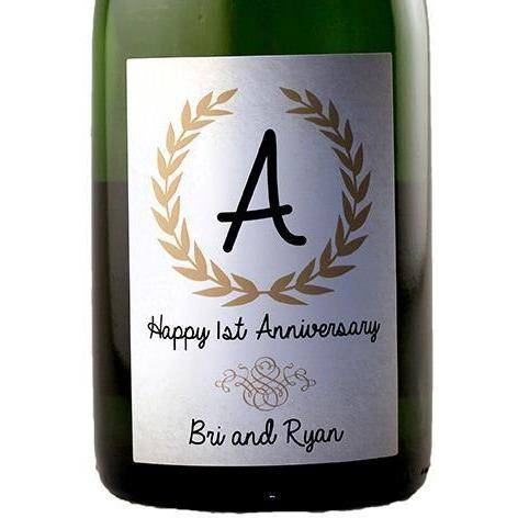 Personalized Champagne Bottle Label  - Monagram Label