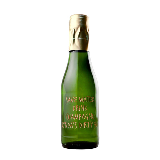 Customized mini champagne bottle by Etching Expressions