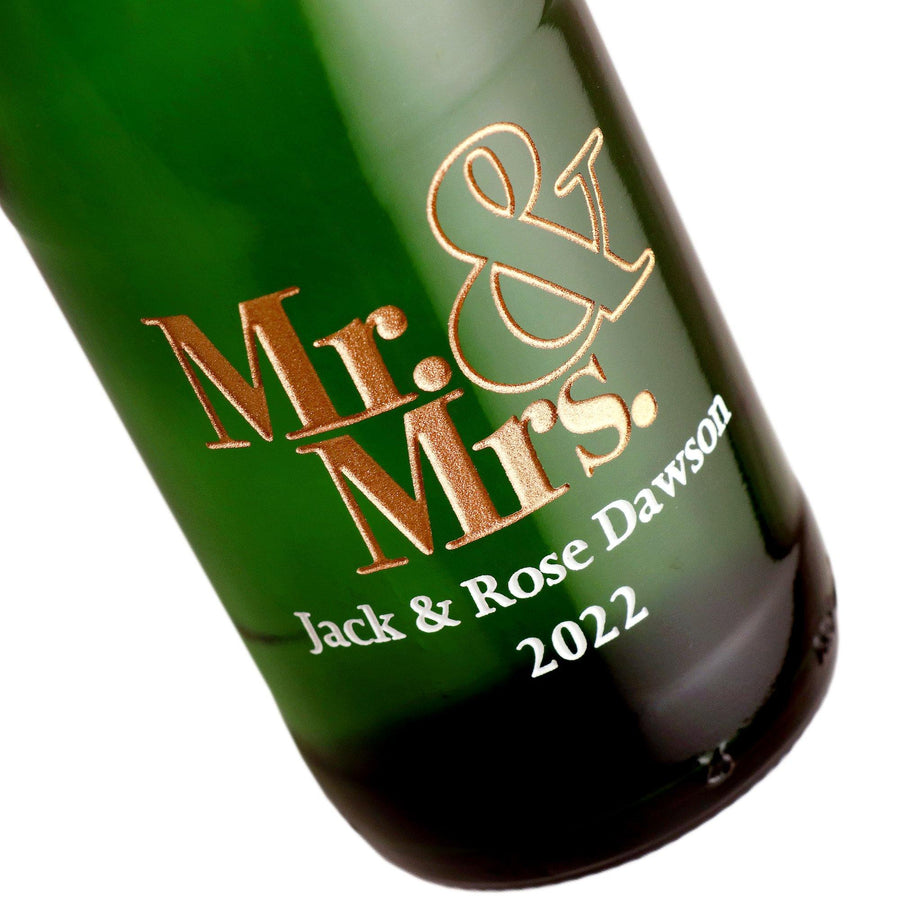 Mr & Mrs custom engraved mini champagne bottle by Etching Expressions