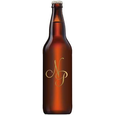 monogram etched beer bottle by Etching Expressions