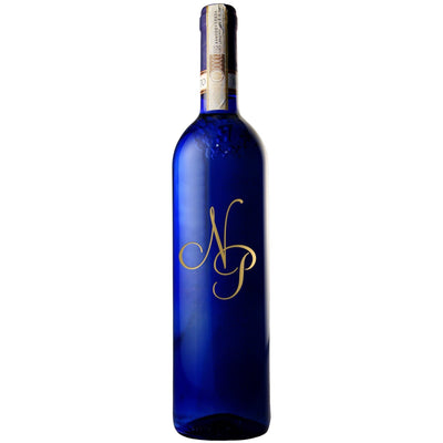 Personalized Etched Wine Bottle Gift:  Blue Bottle - Monogram