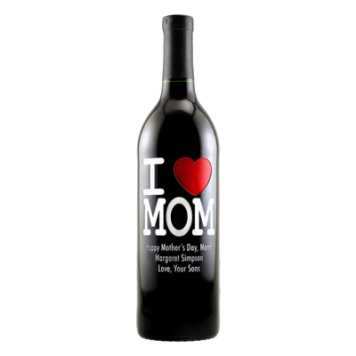 """I Heart Mom"" custom etched wine bottle Mother's Day gift by Etching Expressions"