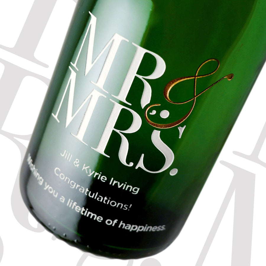 Mr & Mrs modern font custom etched champagne bottle wedding gift by Etching Expressions