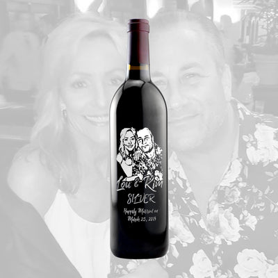 Personalized photo etching on red wine bottle for anniversary gift by Etching Expressions