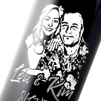 closeup of custom photo engraved wine bottle for anniversary present by Etching Expressions