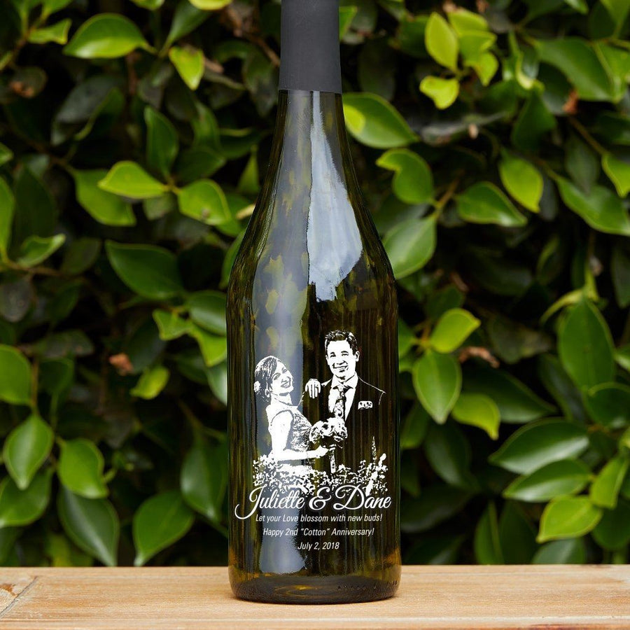 Personalized Etched white wine- Upload your Photo for an any occasion gift