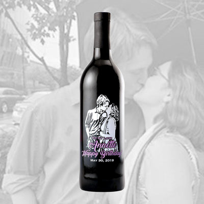 Upload Your Picture Happy Birthday custom wine bottle birthday gift by Etching Expressions