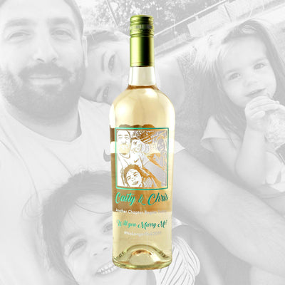 Custom photo white wine bottle gift by Etching Expressions