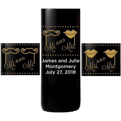 Personalized Etched Red Wine Bottle Gift - Mustache and Lips