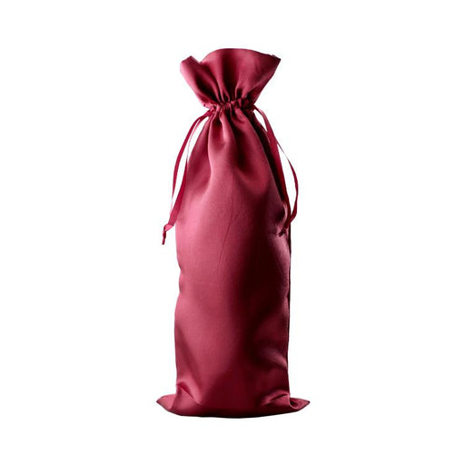 Red satin wine bag for wine and champagne gifts by Etching Expressions