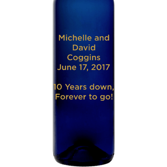 Personalized blue wine bottle with Custom Text by Etching Expressions