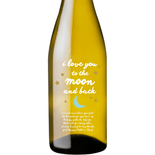 Personalized Etched White Wine Bottle Gifts - Moon and Back Stars