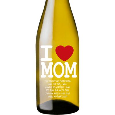 Personalized White Wine - I heart Mom