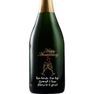 Personalized Champagne - Happy Anniversary Heart Flutes