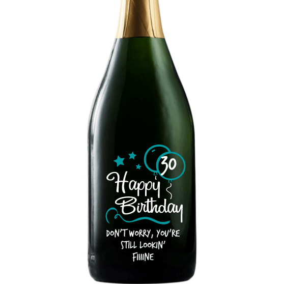Happy Birthday with blue balloons personalized champagne birthday gift by Etching Expressions