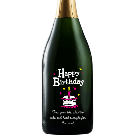 Happy Birthday Cake personalized champagne bottle birthday gift by Etching Expressions