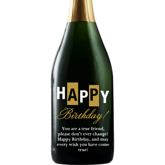 Happy Birthday bold retro design personalized champagne bottle by Etching Expressions