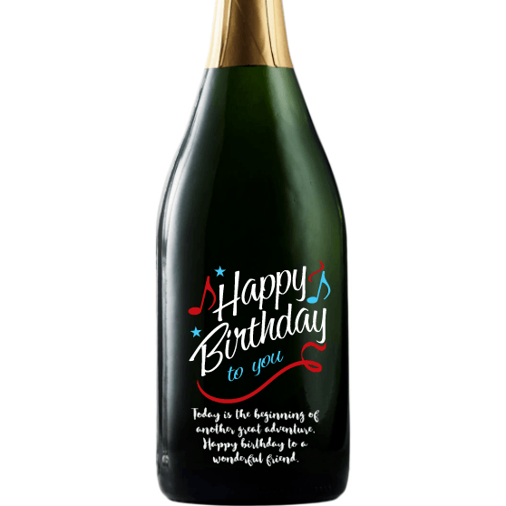 Happy Birthday to You with music notes custom etched champagne bottle by Etching Expressions