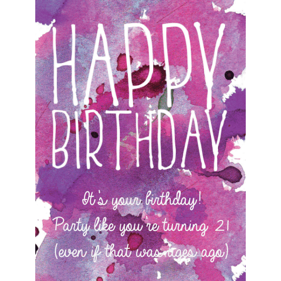 Happy Birthday pink and purple watercolor background custom labeled birthday champagne bottle by Etching Expressions
