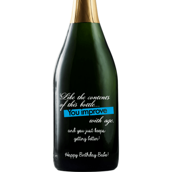 Personalized Champagne - Birthday Improve with Age