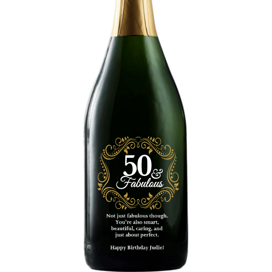 Fifty and Fabulous with golden filigree elegant custom champagne fiftieth birthday gift by Etching Expressions