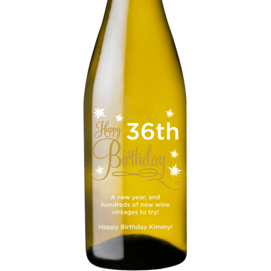 Personalized White Wine - Happy Birthday Stars