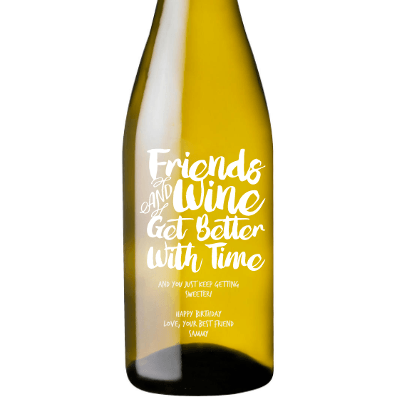 Personalized White Wine - Friends & Wine