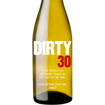 Dirty 30 personalized white wine bottle 30th birthday gift by Etching Expressions