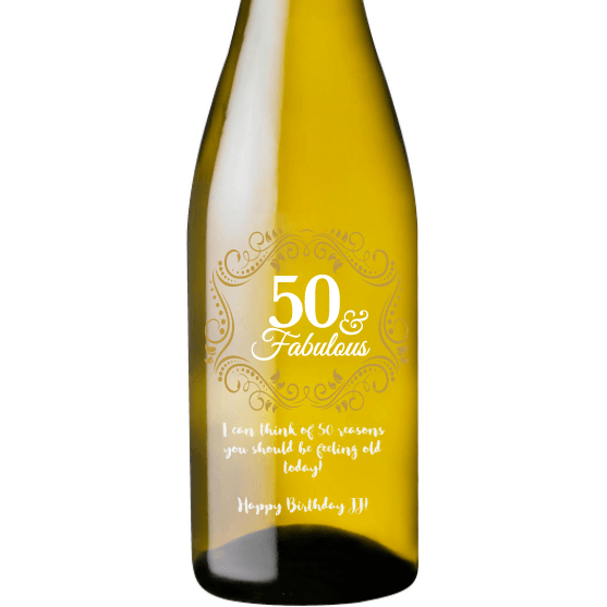 Personalized White Wine - Fifty and Fabulous