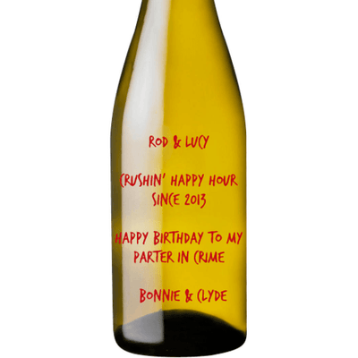custom etched white wine bottle anniversary gift by Etching Expressions
