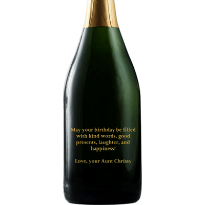 Custom engraved text on a champagne bottle birthday gift by Etching Expressions
