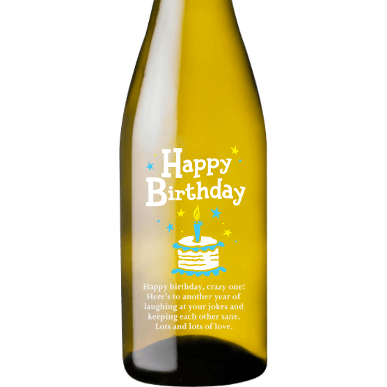 Personalized White Wine - Birthday Cake