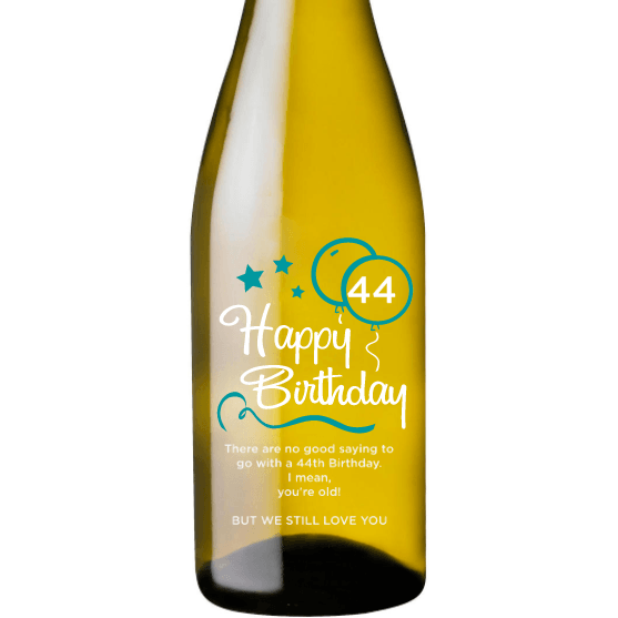 Personalized White Wine - Birthday Blue Balloons