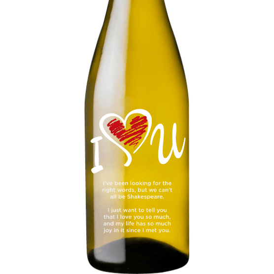 Personalized Etched White Wine Bottle Gifts - I Love U