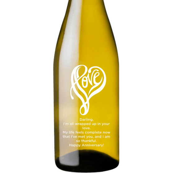 Personalized Etched White Wine Bottle Gifts - Love Shape