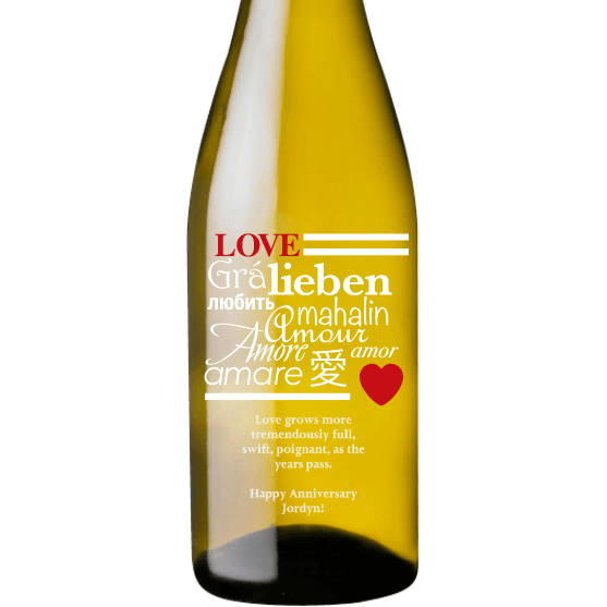 Personalized Etched White Wine Bottle Gifts - Language of Love