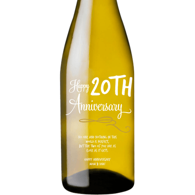 Personalized White Wine - Happy Anniversary Curls