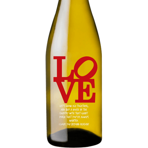 Personalized Etched White Wine Bottle Gifts - Love Square