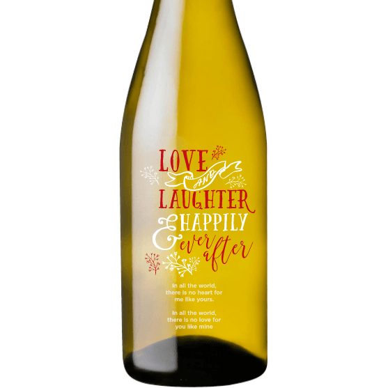 Personalized Etched White Wine Bottle Gifts - Love and Laughter