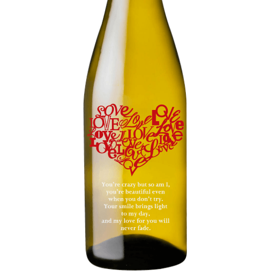 Personalized Etched White Wine Bottle Gifts - Heart of Love