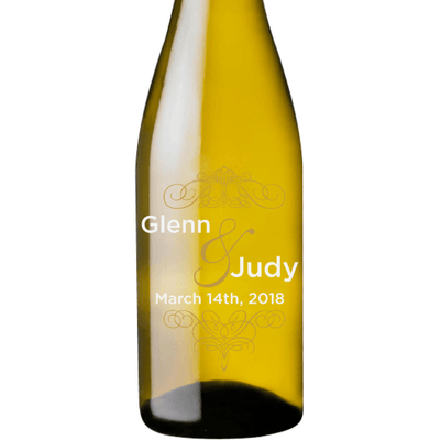 Personalized Etched White Wine Bottle Gifts - Fancy Couple