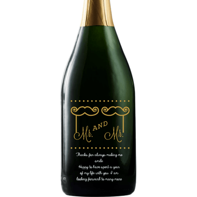 Personalized Etched Champagne Bottle Gift  - Mustache and Lips